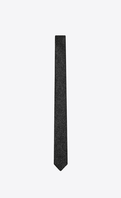 SAINT LAURENT Skinny Ties Man Skinny Tie in Black and Silver Chain Metal Jacquard a_V4