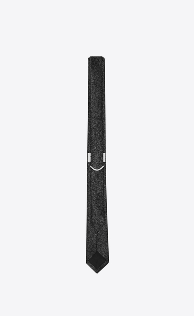 SAINT LAURENT Skinny Ties Man Skinny Tie in Black and Silver Chain Metal Jacquard b_V4
