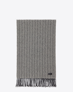 SAINT LAURENT Large scarves U Scarf in Ivory and Black Chevron Knit Wool and Cashmere f