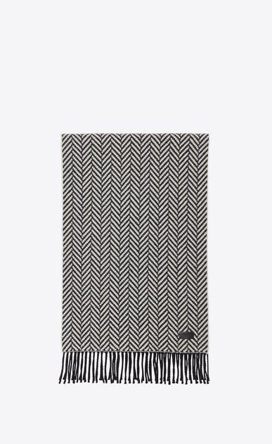 SAINT LAURENT Large scarves U Scarf in Ivory and Black Chevron Knit Wool and Cashmere a_V4