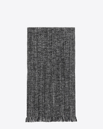 SAINT LAURENT Large scarves U Scarf in Black and Light Grey Diagonal Chevron Knit Wool and Cashmere f