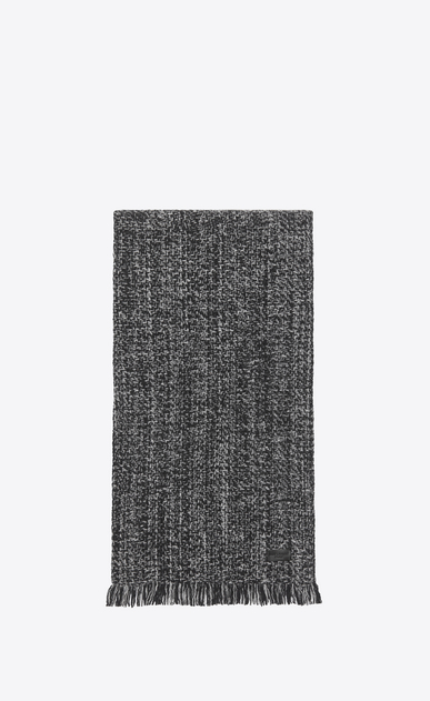 SAINT LAURENT Large scarves Man Scarf in Black and Light Grey Diagonal Chevron Knit Wool and Cashmere a_V4