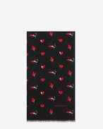 SAINT LAURENT Large scarves U Scarf in Black and Red Heart, Lightening Bolt, Lips and Flame Print Wool Twill f