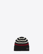 SAINT LAURENT Hats U MARIN Knit Hat in Black and White Knit Wool f