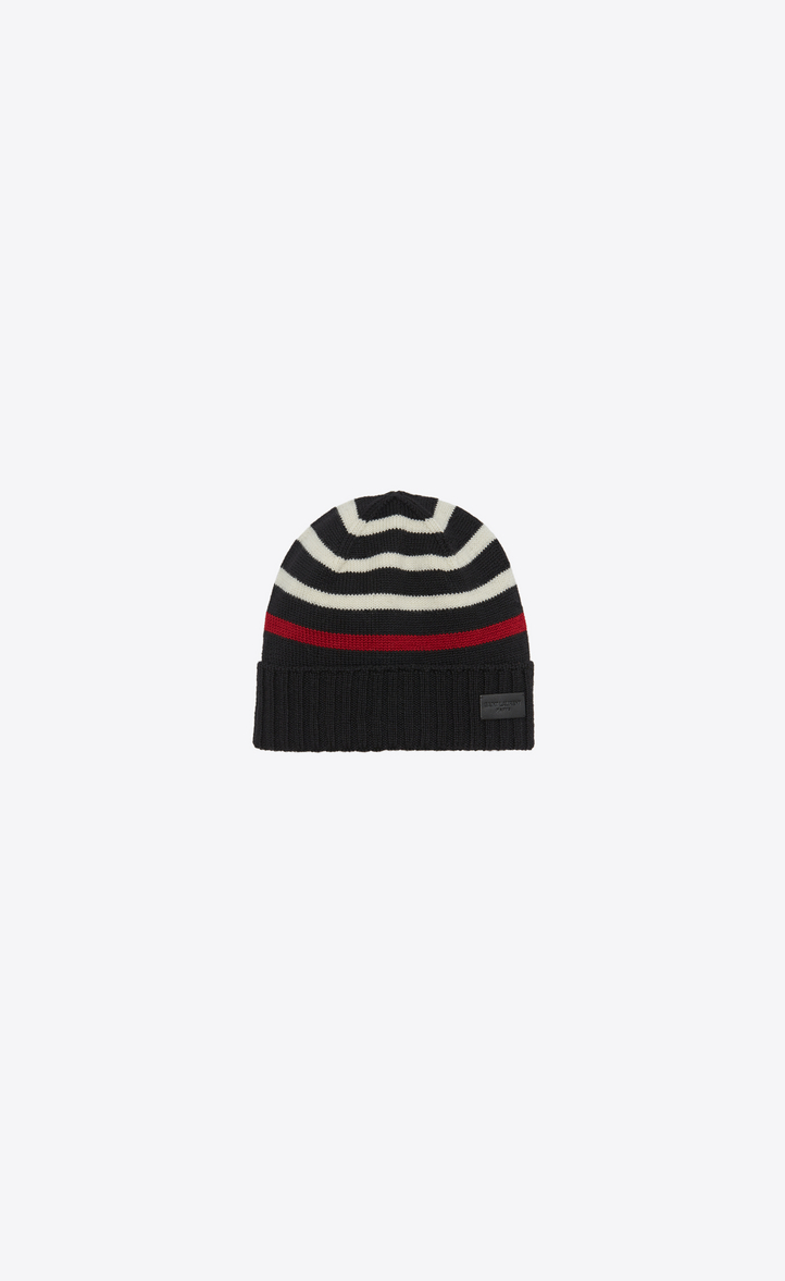 e5a0a5c92d2 Saint Laurent MARIN Knit Hat In Black And White Knit Wool
