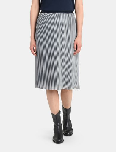 PLEATED PINSTRIPE MIDI SKIRT