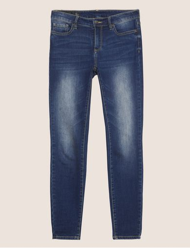 WASHED INDIGO SUPER SKINNY DISTRESSED JEANS