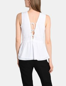 ARMANI EXCHANGE PEPLUM-BACK V-NECK TOP S/L Woven Top Woman r