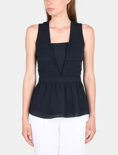 PEPLUM-BACK V-NECK TOP