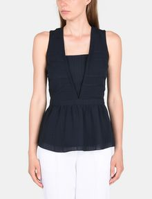ARMANI EXCHANGE PEPLUM-BACK V-NECK TOP S/L Woven Top Woman f