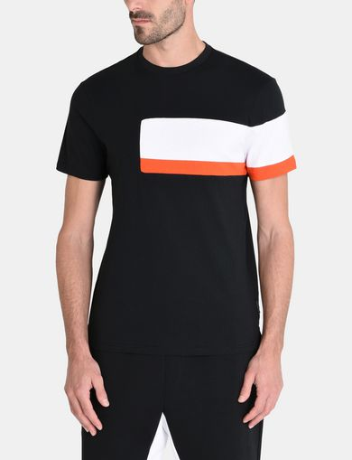 OFFSET STRIPE CREWNECK T-SHIRT