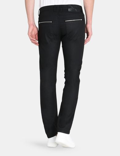 SLIM FIT BLACK COATED ZIP JEANS