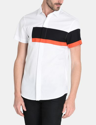 SHORT SLEEVE OFFSET STRIPE SHIRT