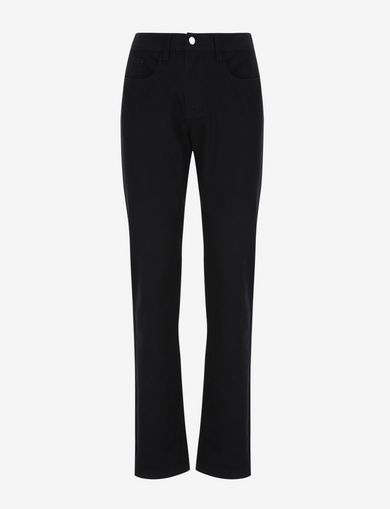 GARMENT-DYED STRAIGHT FIT BLACK JEANS
