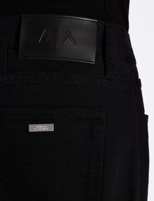 ARMANI EXCHANGE GARMENT-DYED STRAIGHT FIT BLACK JEANS STRAIGHT JEANS U b
