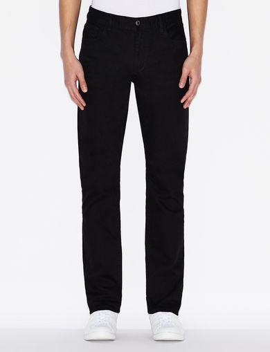 GARMENT-DYED SLIM FIT BLACK JEANS