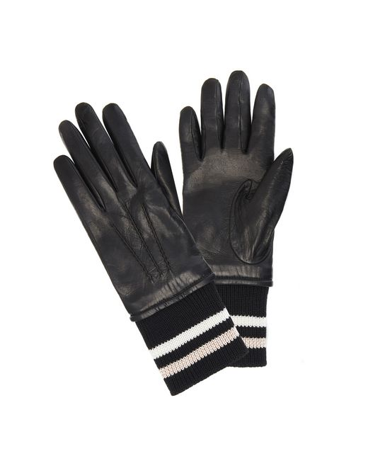 lanvin lambskin ribbed gloves women