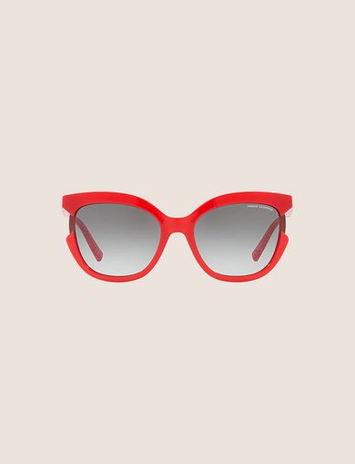 RED CUTOUT CAT-EYE SUNGLASSES