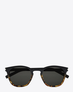 SAINT LAURENT CLASSIC E Classic 28 sunglasses in black and Havana brown acetate frames with gray lenses f