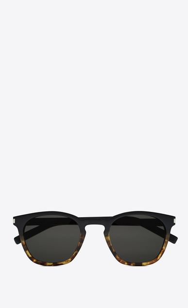 SAINT LAURENT CLASSIC E Classic 28 sunglasses in black and Havana brown acetate frames with gray lenses a_V4