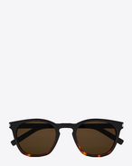 SAINT LAURENT CLASSIC E Classic 28 sunglasses in black and Havana red acetate frames with smoked lenses f