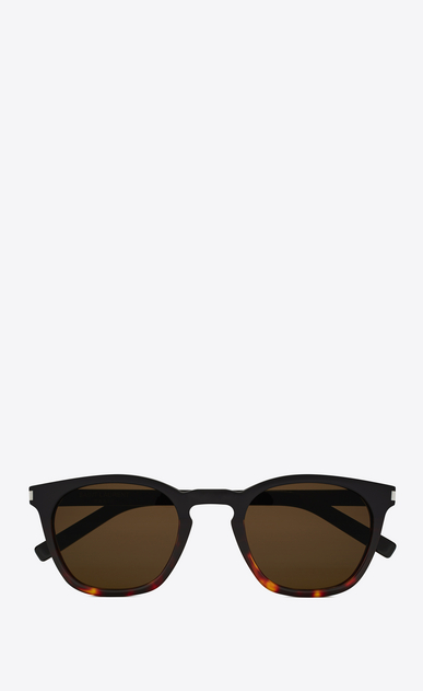 SAINT LAURENT CLASSIC E Classic 28 sunglasses in black and Havana red acetate frames with smoked lenses a_V4