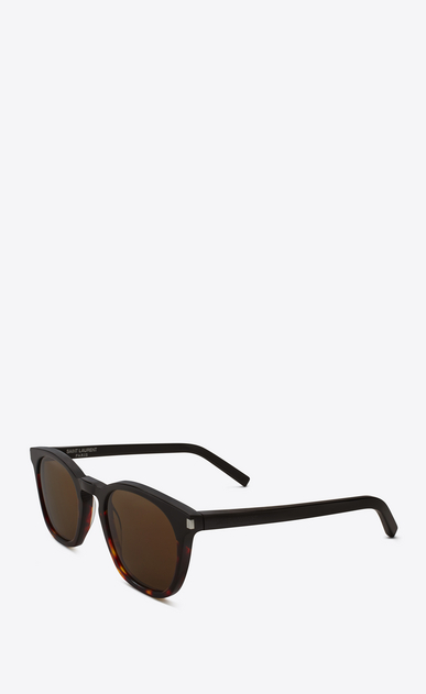 SAINT LAURENT CLASSIC E 28 sunglasses in black and havana red acetate frames with smoked lenses b_V4