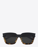 SAINT LAURENT BOLD D Bold 1 sunglasses in black and Havana brown acetate frames with gray lenses f
