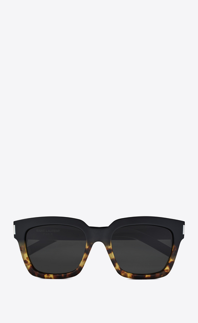 SAINT LAURENT BOLD Woman Bold 1 sunglasses in black and Havana brown acetate frames with gray lenses a_V4