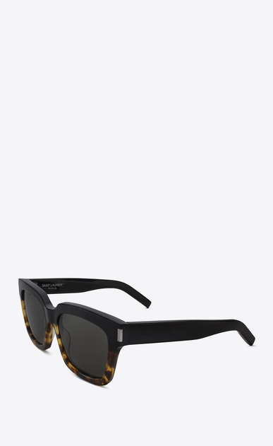 SAINT LAURENT BOLD Woman Bold 1 sunglasses in black and Havana brown acetate frames with gray lenses b_V4