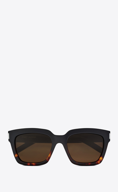 SAINT LAURENT BOLD Woman Bold 1 sunglasses in black and Havana red acetate frames with smoked lenses a_V4