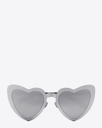 SAINT LAURENT NEW WAVE D New Wave SL 196 Loulou sunglasses in silver and black acetate frames with gray mirror lenses f