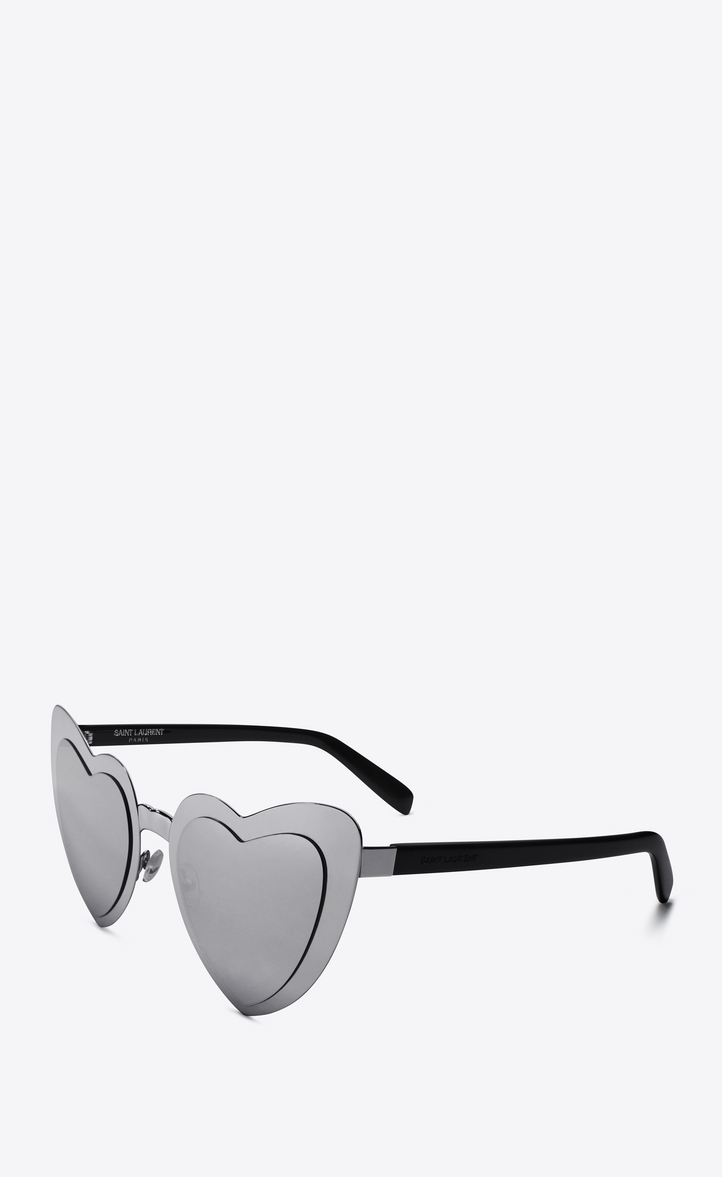 8011daa31f Zoom  new wave sl 196 loulou heart sunglasses in silver and black acetate  frames with gray mirror