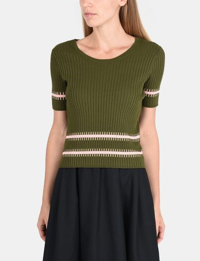 SHORT SLEEVE STITCHED STRIPE SWEATER