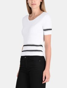 ARMANI EXCHANGE SHORT SLEEVE STITCHED STRIPE SWEATER Pullover Woman d
