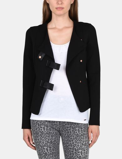 ASYMMETRICAL COLLARLESS PONTE MOTO JACKET