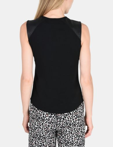 FAUX LEATHER PIECED KEYHOLE TANK