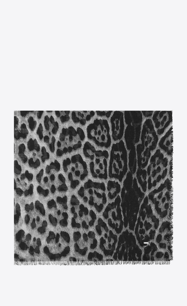 Large square scarf with leopard print in gray and black cashmere and silk