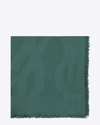 SAINT LAURENT Squared Scarves D Large square green silk jacquard scarf f