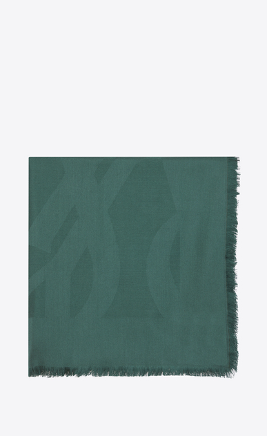 SAINT LAURENT Squared Scarves Woman Large square green silk jacquard scarf a_V4