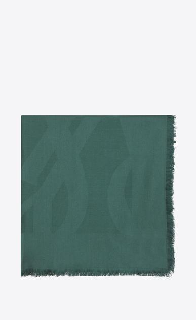 SAINT LAURENT Squared Scarves D Large square green silk jacquard scarf v4