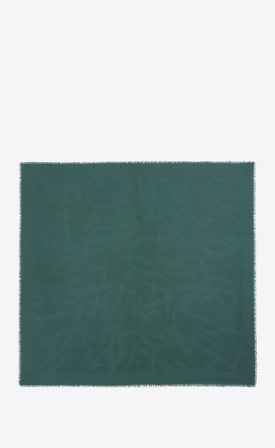 SAINT LAURENT Squared Scarves D Large square green silk jacquard scarf b_V4