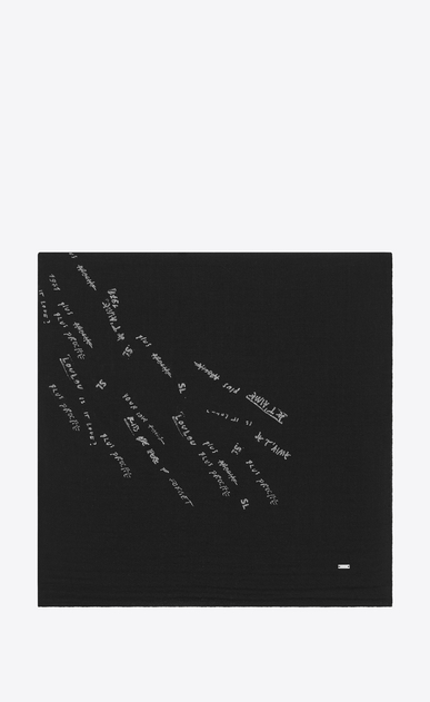 SAINT LAURENT Squared Scarves D Large square scarf with writings in black and silver wool etamine a_V4