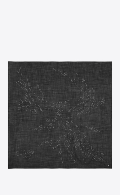 SAINT LAURENT Squared Scarves Woman Large square scarf with writings in black and silver wool etamine b_V4