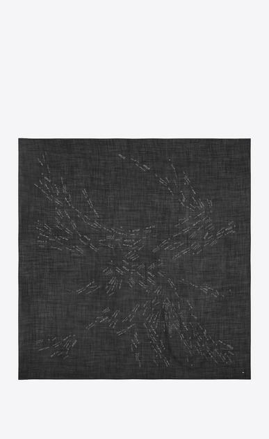 SAINT LAURENT Foulard Quadrati D Sciarpa Large quadrata con scritte nera e argento in etamine di lana b_V4