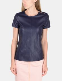 ARMANI EXCHANGE FAUX LEATHER ZIP-SHOULDER TEE S/S Knit Top Woman f