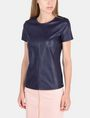 ARMANI EXCHANGE FAUX LEATHER ZIP-SHOULDER TEE S/S Knit Top Woman d