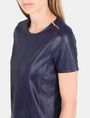 ARMANI EXCHANGE FAUX LEATHER ZIP-SHOULDER TEE S/S Knit Top Woman e