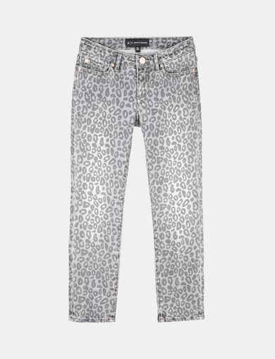 GIRLS CROPPED LEOPARD SUPER SKINNY JEANS