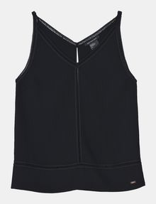 ARMANI EXCHANGE EYELET DETAIL V-NECK TANK S/L Woven Top Woman b